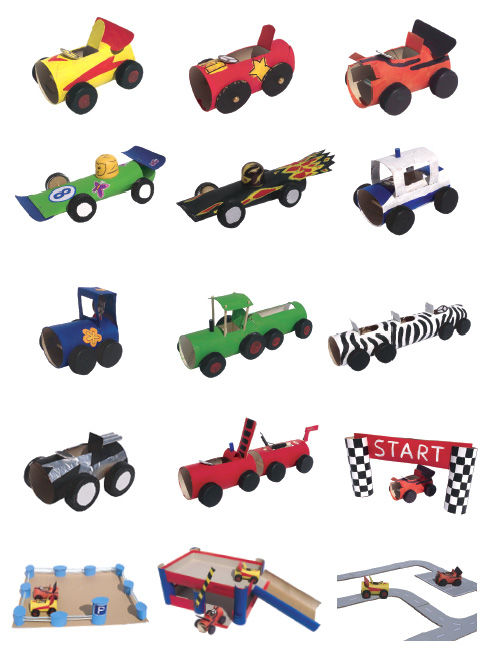 Autos aus Papprollen basteln