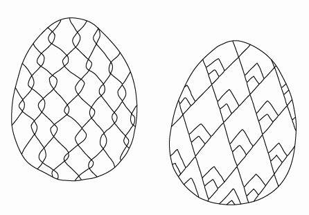 Ostereier mit Linienmuster
