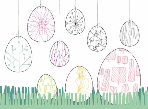 Linienmuster-Eier
