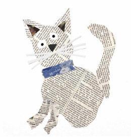 Tier-Collagen aus Zeitungspapier