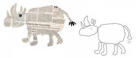 Tier-Collagen aus Zeitungspapier - Anleitung