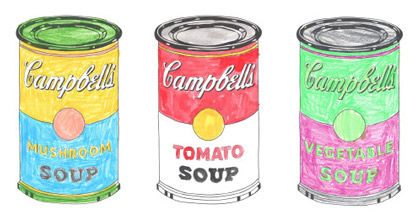 Pop-Art Vorlagen nach Andy Warhol's Suppendosen