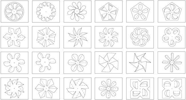 Bastelvorlgen für 24 verschiedene Windräder und Windmühlen