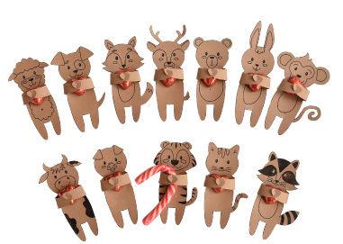 Geschenk-Tiere basteln mit Kindern