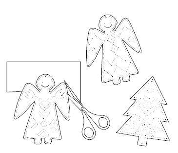 Jul-Weihnachtsfiguren prickeln für Kinder