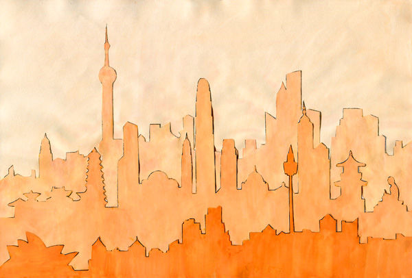 Kunst-Collage aus mehreren Skyline-Silhouetten
