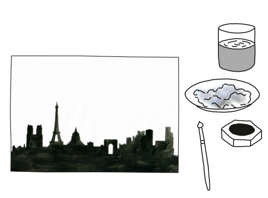 Scherenschnitt-Collagen mit der Skyline-Silhouette basteln