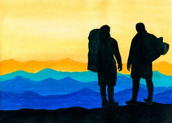 Kunst-Collage - Landschaft und Emotion  mit Backpacker-Silhouetten