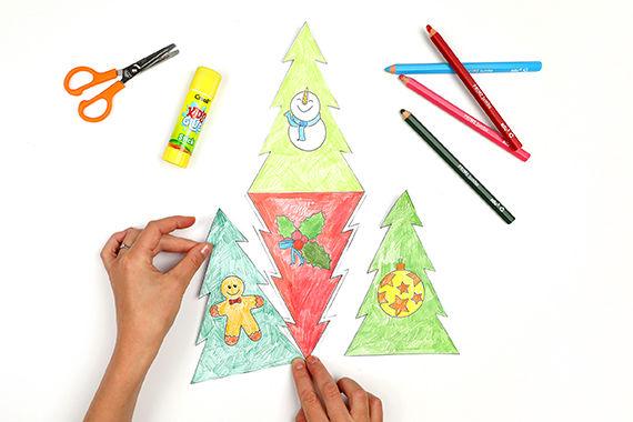 Weihnachtsbaum-Riesenpuzzle basteln mit Kindern