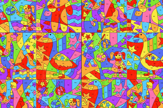 Op-Art 3D Motive ausmalen - Kunstprojekte für Kinder
