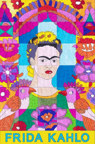 Frida Kahlo - Wandbild zum Ausmalen mit der Gruppe