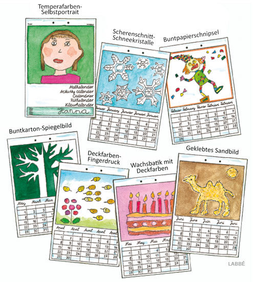 Malkalender - Kalenderblaetter mit verschiedenen Techniken gestaltet