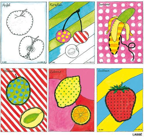 Poppige Stickkarten Obst