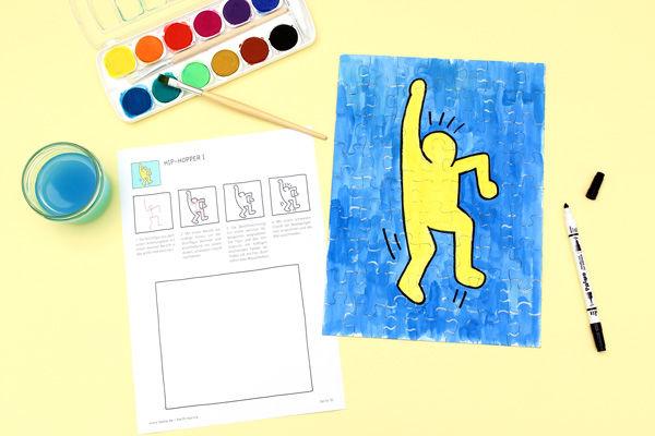 Blanko-Puzzle bemalen mit Keith Haring Figuren