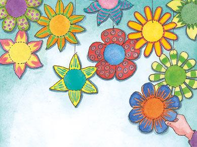 Blumen weiterempfehlen anleitung bunte blumen drucken labbé idee