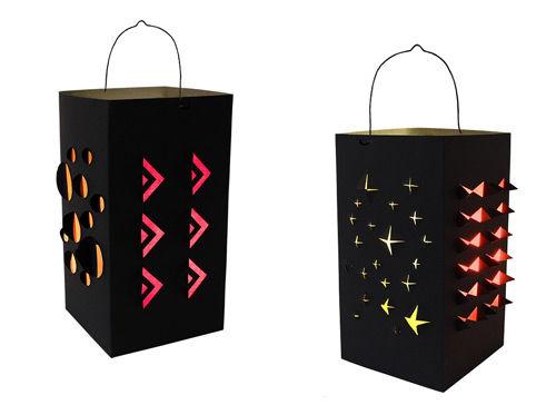 Schwarze Faltlaterne mit leuchtenden Cutter-Reliefs