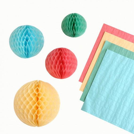 Wabenpapier in Pastellfarben