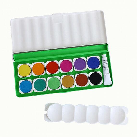 Deckfarbkasten für die Schule mit 12 Farben + Deckweiß