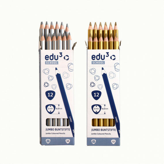Jumbo Tri, 12 Stifte in gold und silber