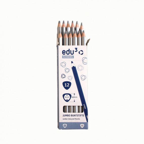 Jumbo Tri, 12 Stifte, silber
