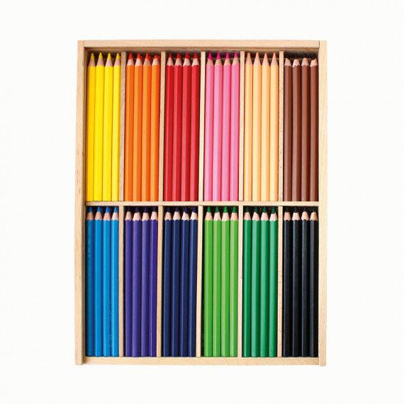 Holzkasten mit 144 Buntstiften in 12 Farben