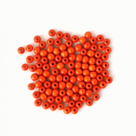 Holzperlen 6 mm, 110 Stück, orange