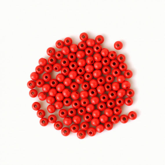 Holzperlen 6 mm, rot
