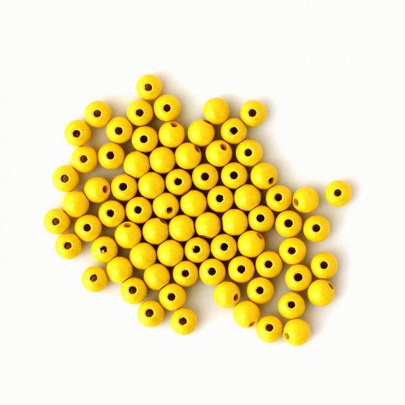 Holzperlen 8 mm, 75 Stück, gelb