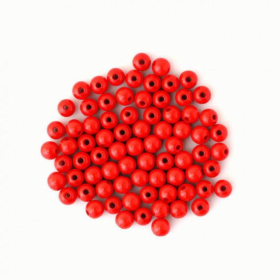 Holzperlen 8 mm, rot