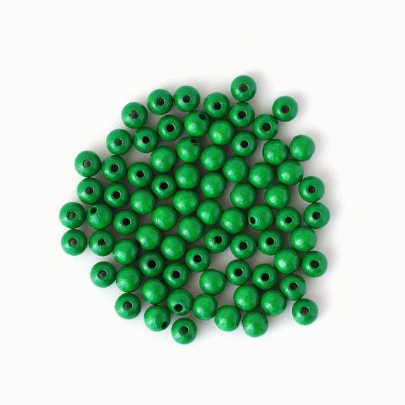 Holzperlen 8 mm, grün