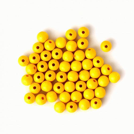 Holzperlen 10 mm, 50 Stück, gelb