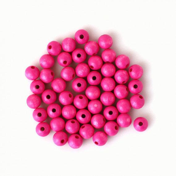 Holzperlen 10 mm, pink