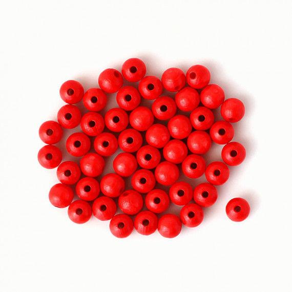 Holzperlen 10 mm, rot