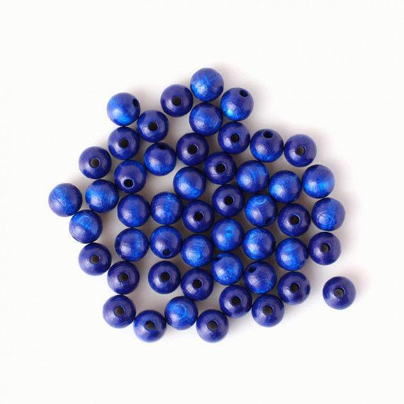 Holzperlen 10 mm, 50 Stück, blau