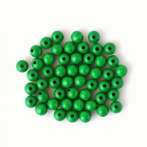 Holzperlen 10 mm, 50 Stück, grün