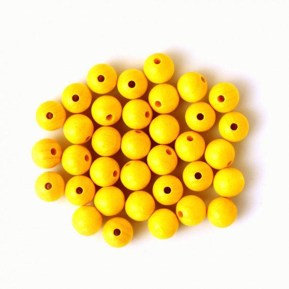 Holzperlen 12 mm, 35 Stück, gelb