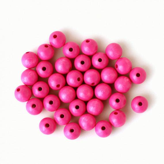 Holzperlen 12 mm, 35 Stück, pink