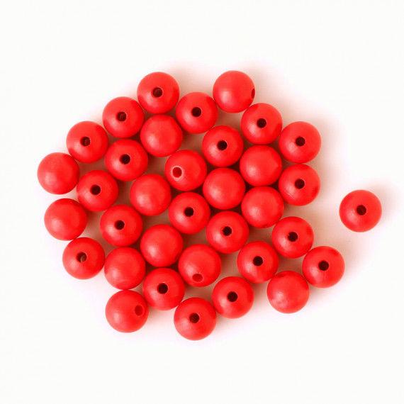 Holzperlen 12 mm, 35 Stück, rot