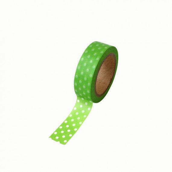 Washitape, grün-weiß gepunktet