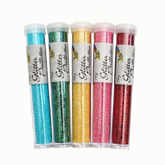 Glitter im Röhrchen in 5 Farben