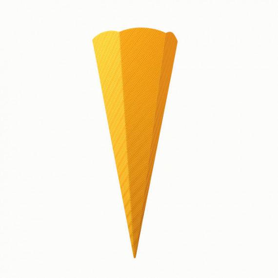 Gelbe Schultüte aus Wellpappe