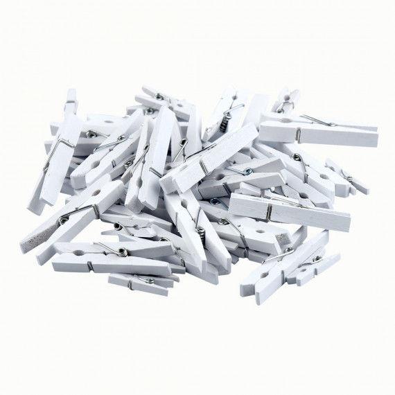 Weiße Holzklammern