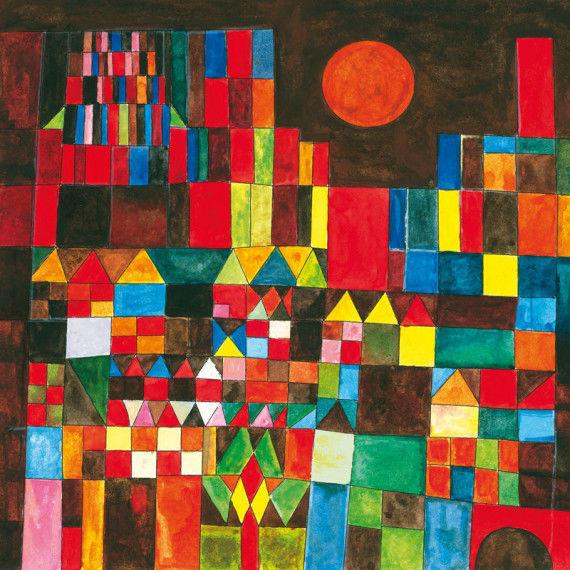 Burg und Sonne - Wandbild nach Paul Klee
