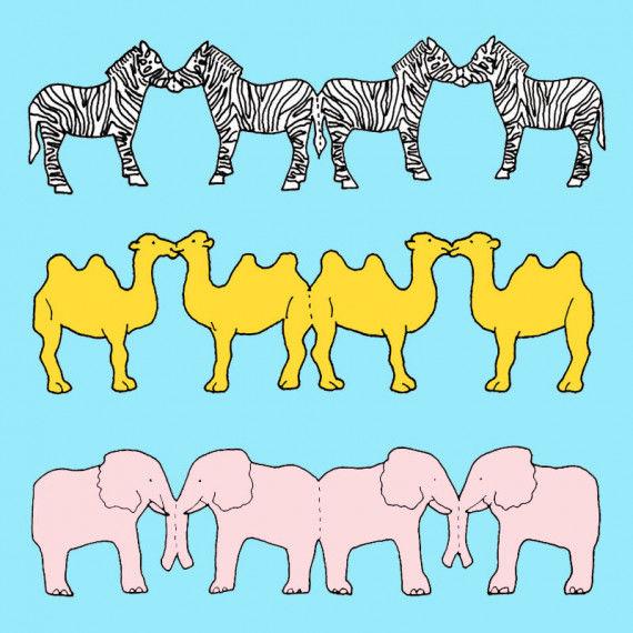 Wilde Tiere Papierketten mit Zebras, Kamelen und Elefanten
