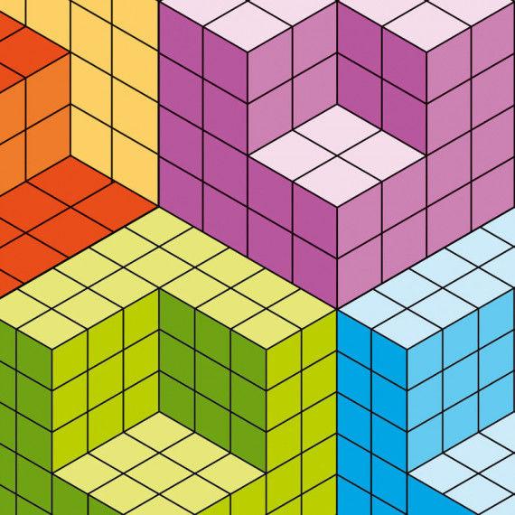 Würfel-Illusionen nach Victor Vasarely