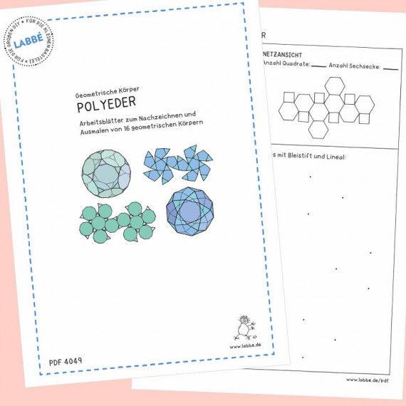 Beispielseiten aus dem PDF mit 16 Arbeitsblätter zum Nachzeichnen von Polyedern