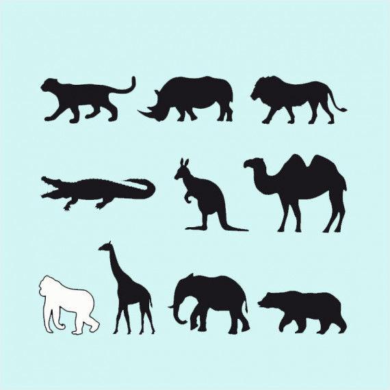 Wilde Tiere Silhouetten