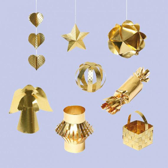 Bastelanleitungen für Weihnachtsschmuck aus Goldfolie