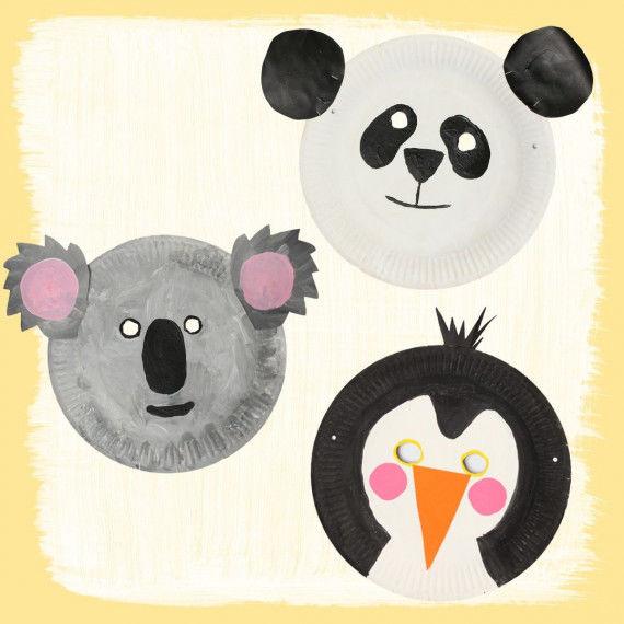 Witzige Tiermasken aus Papptellern