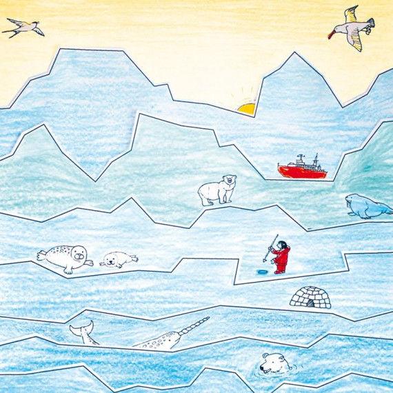 Schneideübung - Streifenbild Arktis